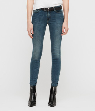AllSaints Mast Skinny Low-Rise Jeans, Washed Indigo