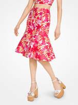 Michael Kors Floral Jacquard Trumpet Skirt