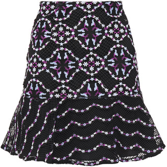 Sandro Ornel Fluted Embroidered Guipure Lace Mini Skirt