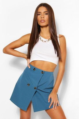 boohoo Tailored Mock Horn Button Wrap A Line Skirt