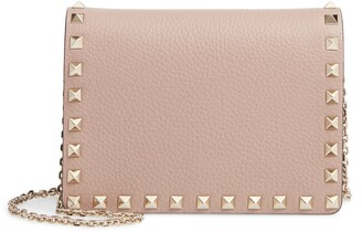 Valentino Rockstud Leather Pouch Wallet on a Chain