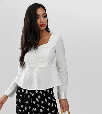 Vero Moda Petite square neck peplum shirt-White