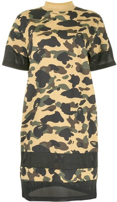 A Bathing Ape camouflage print T-shirt dress