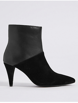 M&S Collection Leather Side Zip Pointed Ankle Boots