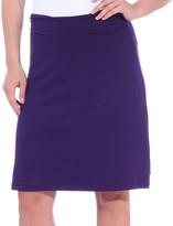 Brooke & Emma Women's Casual Skirts Eggplant - Eggplant Fold-Over A-Line Skirt - Women