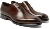 Santoni Burnished-leather Oxford Shoes - Brown
