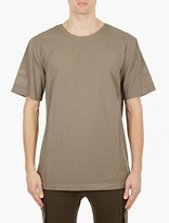 Helmut Lang Olive Cotton Tape-detail T-shirt