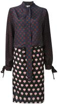 Lanvin tied patchwork pattern dress - women - Silk - 38