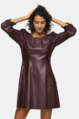 Topshop Burgundy PU Elastic Neck Mini Dress