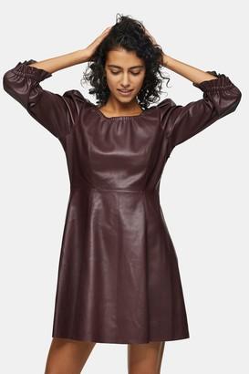 Topshop Womens Burgundy Pu Elastic Neck Mini Dress - Burgundy