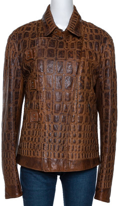Roberto Cavalli Vintage Tan Brown Embroidered Calf Leather Moto Jacket XL