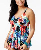Swim Solutions La Belle Floral-Print Ruffled Underwire Tankini Top