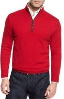 Neiman Marcus Nano-Cashmere 1/4-Zip Pullover, Red