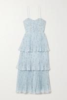 Thumbnail for your product : Self-Portrait Tiered Floral-print Fil Coupe Plisse-crepe De Chine Midi Dress - Blue