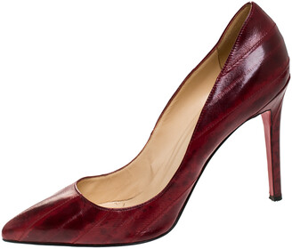 Christian Louboutin Red Textured Leather Pigalle Pointed Toe Pumps Size 41