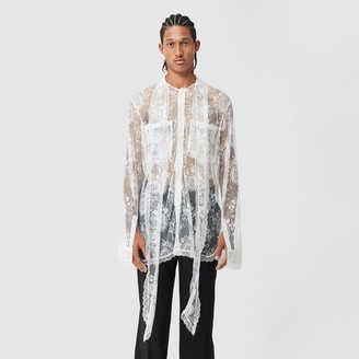 Burberry Chantilly Lace Oversized Tie-neck Shirt