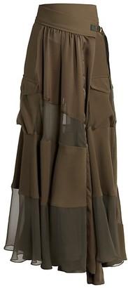 Sacai Tiered Satin Wrap Skirt
