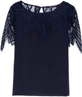 Tart Collections Tamara crochet knit-paneled satin blouse