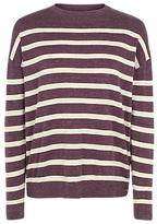Fat Face Salcombe Stripe Jumper, Aubergine