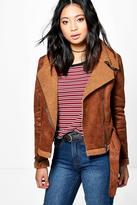 Boohoo Petite Yani Cropped Aviator Fur Lined Jacket tan