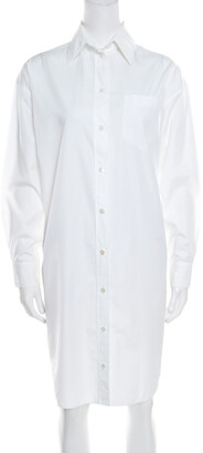 Hermes White Cotton Button Front Shirt Dress S