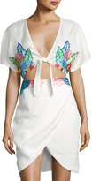 6 Shore Road Embroidered Flora Linen Coverup Dress