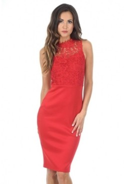 AX Paris Bodycon Midi Dress Crochet High Neck