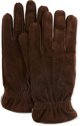 Brunello Cucinelli Men's Three-Cord Suede Gloves