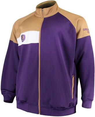 Majestic Men's Purple/Gold Orlando City SC Big & Tall Poly Fleece Full-Zip Track Jacket