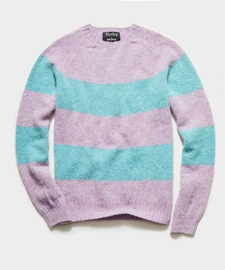 Todd Snyder Harley Brushed Lambswool Rugby Stripe in Lilac