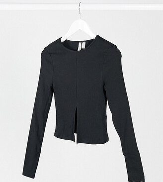ASOS DESIGN Tall top with split front and long sleeve