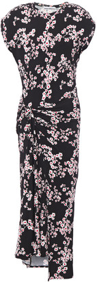 Paco Rabanne Wrap-effect Ruched Floral-print Stretch-jersey Midi Dress