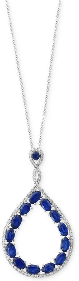 Effy Royale Bleu by Sapphire (3-3/4 ct. t.w.) and Diamond (1/3 ct. t.w.) Teardrop Pendant Necklace in 14k White Gold