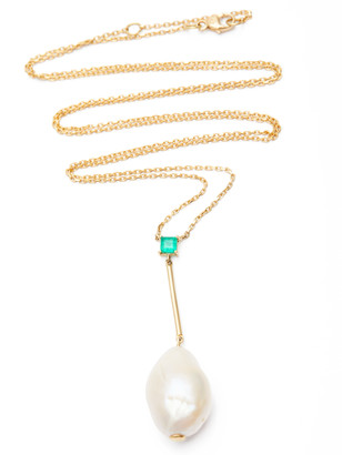 Yi Collection Baroque Pearl Emerald Long Pendant Necklace