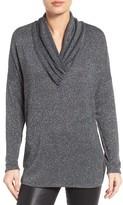 Bobeau Women's Gathered Surplice Neck Metallic Knit Tunic