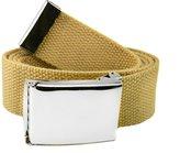 Build A Belt Men's 1.5 Polished Silver Flip Top Belt Buckle with Canvas Web Belt XXX-Large