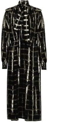 Alberta Ferretti Pussy-bow Metallic Fil Coupe Silk-blend Midi Dress