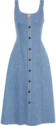 Adam Lippes Button-embellished Denim Midi Dress