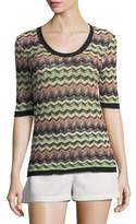 M Missoni Zigzag-Print Half-Sleeve Top