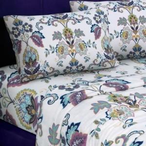 Tribeca Living Abstract Paisley Printed Extra Deep Pocket Flannel Cal King Sheet Set Bedding