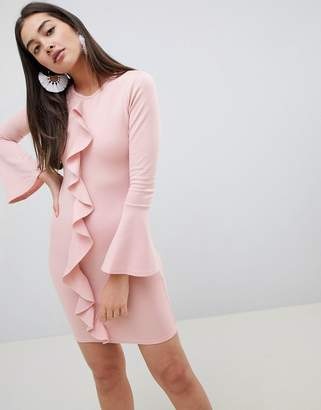 Girls On Film ruffle front bodycon dress-Pink