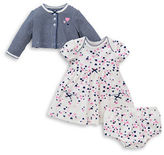 Little Me Three-Piece Striped Jacket, Heart Printed Dress and Bloomers Set
