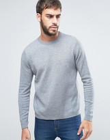 Farah Stones Crew Jumper Cotton Knit Slim Fit In Charcoal Marl