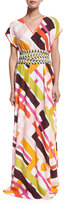 Emilio Pucci Parioli-Print Coverup Maxi Dress w/Tie, White/Pink Green