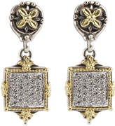 Konstantino Asteri Pave White Diamond Square Double-Drop Earrings