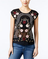 GUESS Embroidered Mesh-Back Top