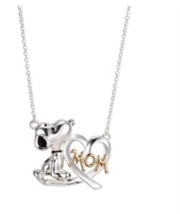 """Peanuts Gold Flash Plated """"Mom"""" Snoopy and Heart Necklace, 16""""+2"""" Extender"""