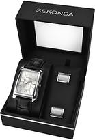 Sekonda 3801g Rectangular Leather Strap Watch And Cufflinks Gift Set, Black/silver