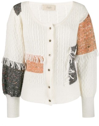 Maison Flaneur Patchwork Fringed Cardigan