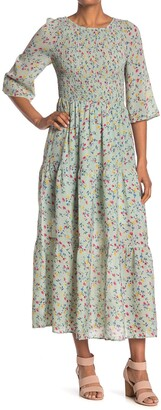 MelloDay Smocked Tiered Floral Maxi Dress